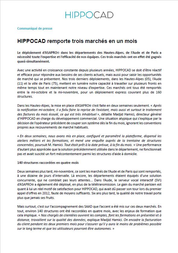 communiqué de presse HIPPOCAD