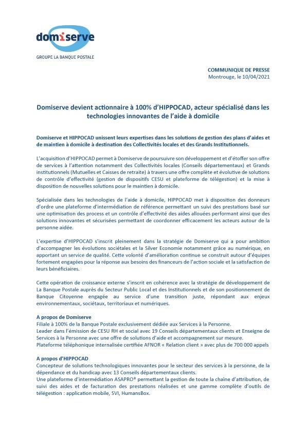 Communiqué Presse Domiserve Groupe La Banque Postale devient actionnaire à 100% d'HIPPOCAD